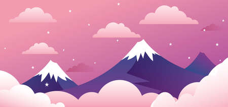 pink hills: Concept of Cute Mountains Landscape on pink gradient background Illustration