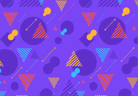 Colourful Geometric shapes pattern on purple background