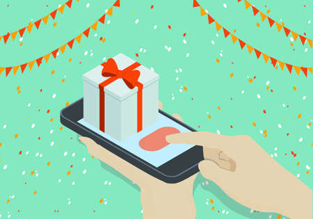 Concept of Isometric phone and gift with hand Banco de Imagens