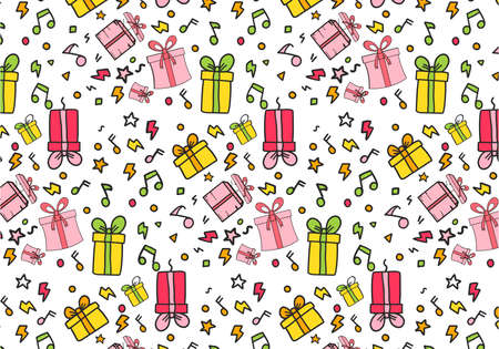 Concept of Hand Drawn Colourful gift bags pattern