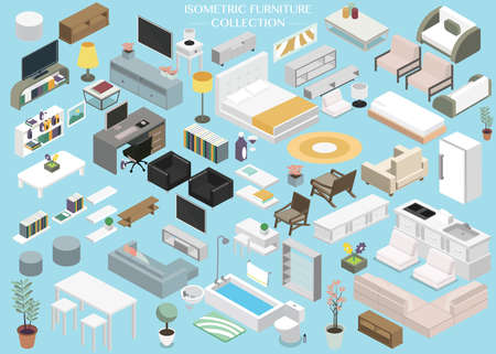 Collection of Isometric furniture floor plan concept