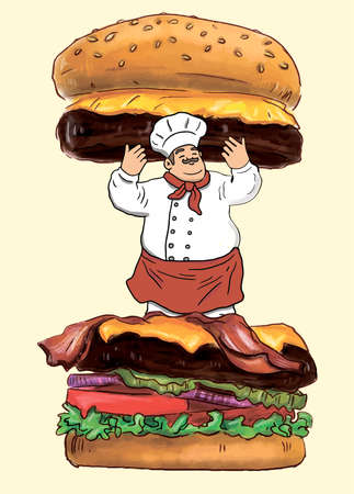 Concept of Hand Drawn Tasty Burger and Pro Chef Banco de Imagens