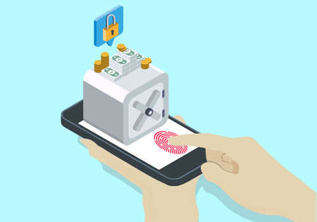 Isometric online bank security with finger and touch id