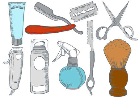 Colletion of Hand Drawn Barber Shop Elements