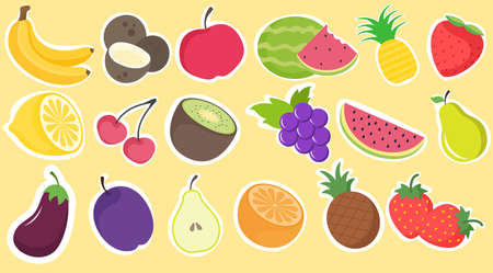 Collection of hand drawn vector fruit stickers