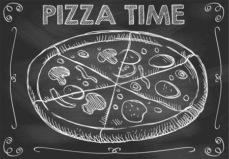 Concept of Chalkboard Pizza Time with Hand Drawn Pizza
