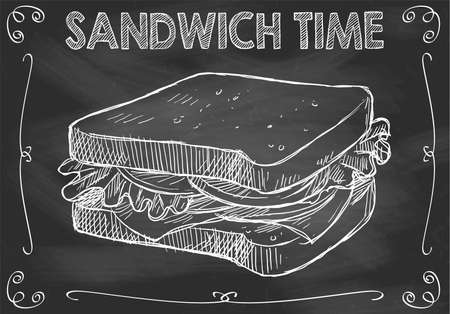 Concept of isolated Chalkboard Sandwich Time with Hand Drawn Sandwich Banco de Imagens