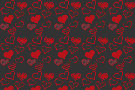 Concept of Hand Drawn Hearts in pattern design style