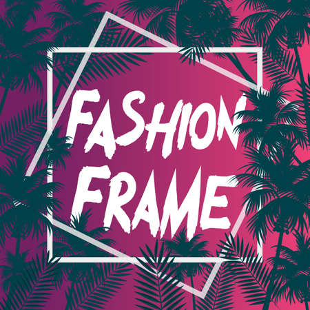 White Fashion frames poster with isolated palms