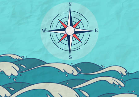 Hand Drawn Sea compass background with blue waves and paper texture