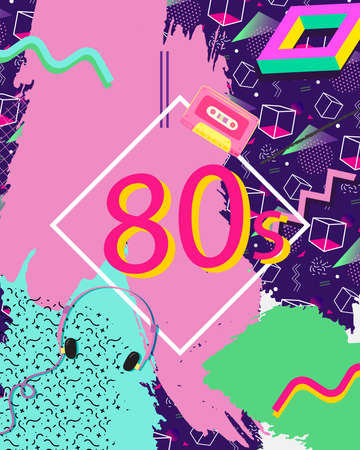 Concept of Retro Eighties Abstract colourful Background
