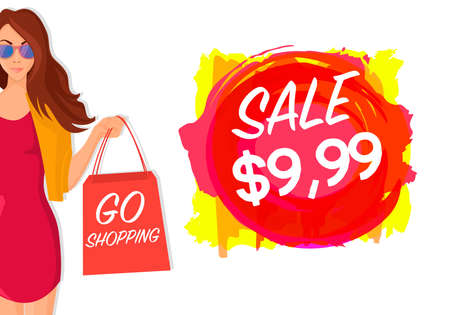 Concept of isolated Sale Shopping Girl with bags Stock Photo