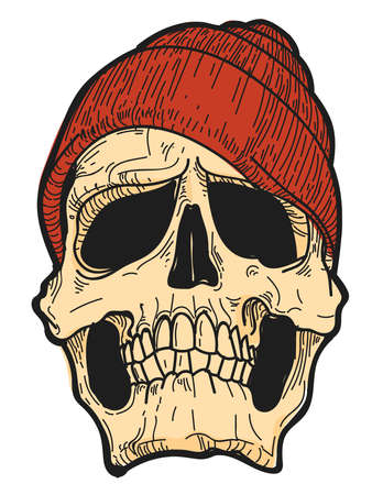 Concept of Hand Drawn Skull with Red Hat