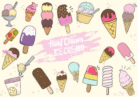 Colletion of Hand Drawn Cute Ice Cream