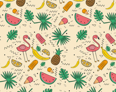 Concept of Hand Drawn tropical fruits pattern Banco de Imagens