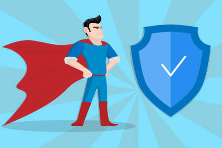 Concept of Hero Security on blue comic background