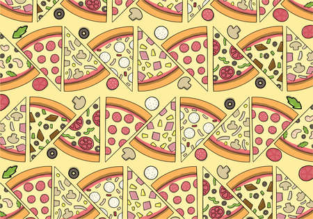 Concept of Delicious Pizza Pattern with isolated ingredients Banco de Imagens