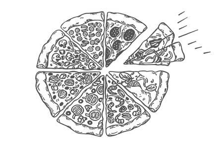 Illustration vectorielle de pizza croquis dessinés à la main vintage. Style gravé en noir et blanc