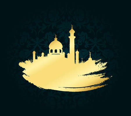 Ramadan kareem mubarak vector illustration for celebration gold brush stroke with mosque over black background