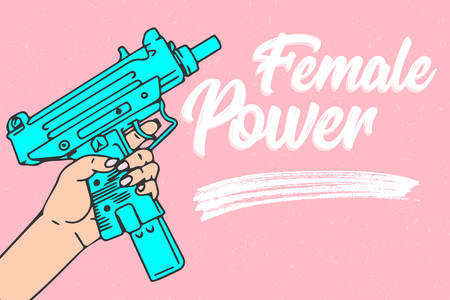 Woman with gun in hand, cartoon vector illustration on pink background design concept
