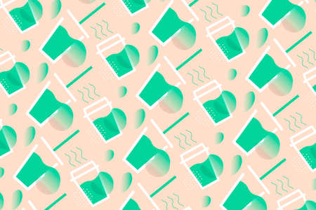 Coffee Time Vector Illustration pattern with cups of hot coffee and cups of fresh juice on warm background