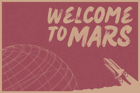 Welcome to Mars with Rocket vector illustration concept on dark red background with texture Reklamní fotografie