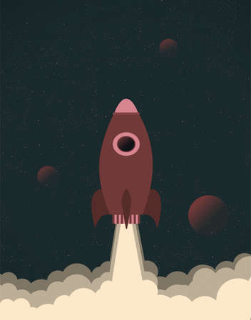 Isolated Rocket launch in the space to the planet vector illustration in paper flat style with texture poster design concept