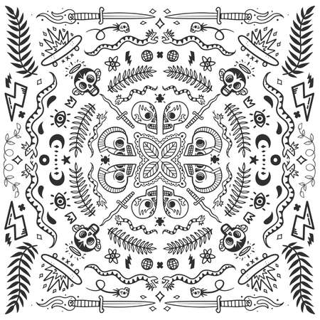 Black and white bandana, old school tattoo elements in doodle style with snakes, skulls, skates and knifes vector illustration concept on white background Banco de Imagens - 114547565
