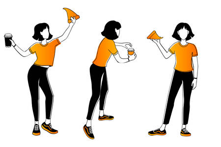 woman eating pizza with coffee in different poses