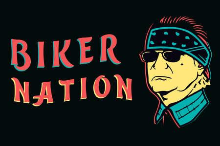 Biker nation lettering with biker face on dark background