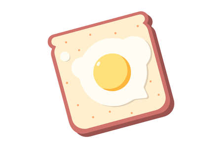 Breakfast concept of toast with tasty fried egg Ilustrace