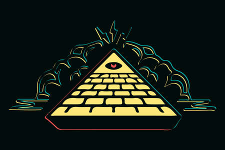 Colorful masons pyramid with red eye vector illustration, Eye of Providence.