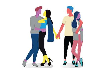 Couple relationships loving man and woman on isolated white background Ilustração