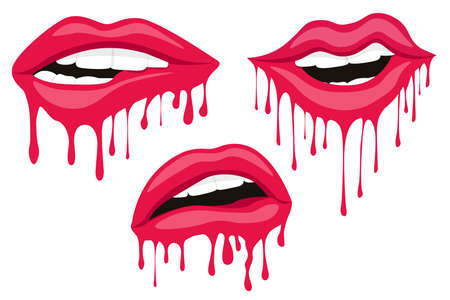 Sexy woman lips. Dripping with red paint lips. Red drops on white background Çizim