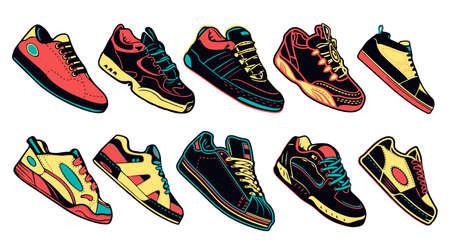 Sammlung von bunten Turnschuhen Laufen, Gehen, Schuhe auf weißem Hintergrund Vektorgrafik