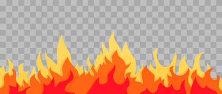 Cartoon fire flames with orange color on transparent background