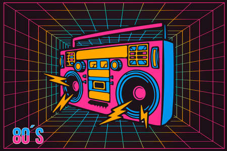 Vintage Pop Party Eighties 80's Party Recorder Illustration