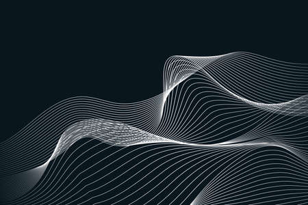 Abstract grey white waves and lines on dark background Banco de Imagens - 126897759
