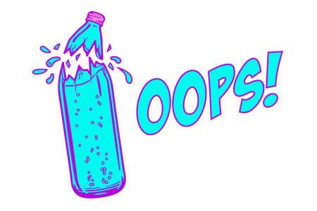 Broken bottle with water, funny oops concept Ilustração