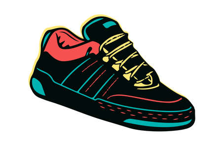 Creative colorful illustration of sneakers running on isolated white background Illustration