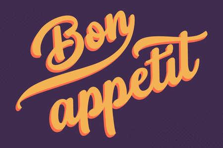 Bon Appetit lettering for poster or card on dark purple background Ilustração