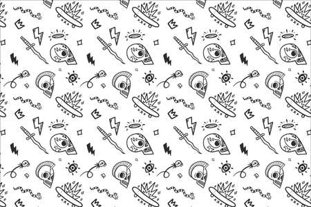 vector old school tattoos pattern on white background