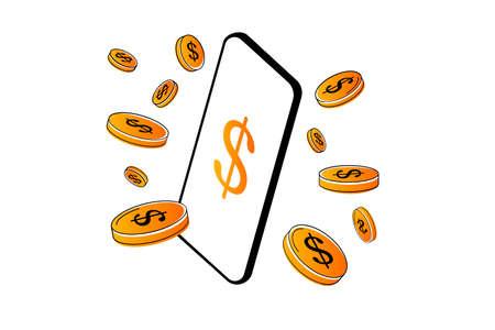 Mobile online payment design with rain of coins Ilustração