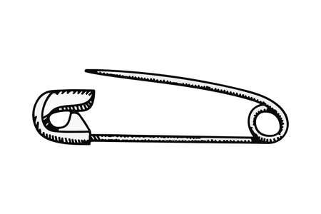 Kleidung Sicherheitsnadel Doodle Vektor-Illustration auf weißem Hintergrund Vektorgrafik