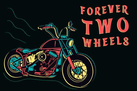 Retro motorcycle design in neon style on dark background