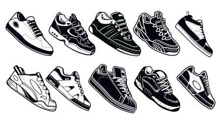 Kollektion von Turnschuhen, Laufen, Gehen, Schuhen, Stilhintergründen in Schwarz-Weiß-Farbe Vektorgrafik