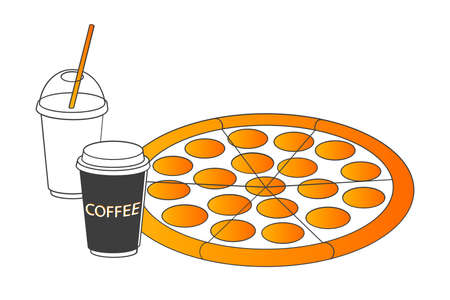 Isolated pizza with soft drink and coffee Banco de Imagens - 126897795