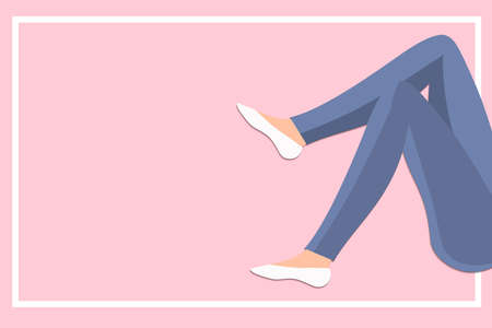 Slim Woman legs in jeans on pink background