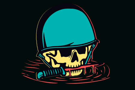 Isolated colorful skull in helmet and a knife