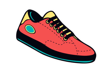 Creative colorful illustration of sneakers running on isolated white background Ilustrace